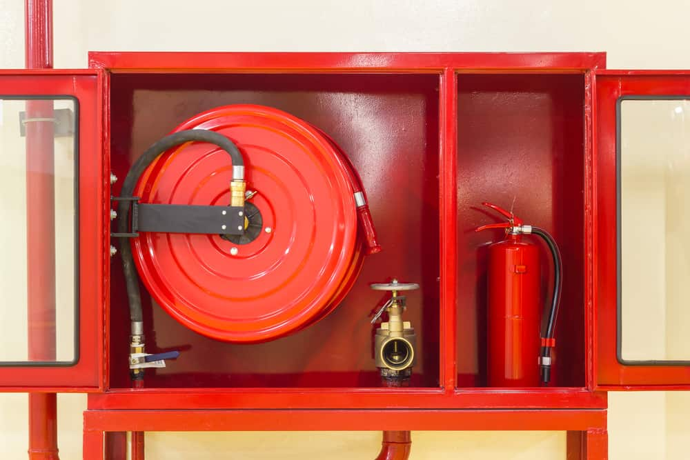 Closed up Red Cabinet for Fire Extinguisher, Fire Hose, and Fire Valve - East Coast Fire and Safety