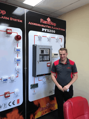 Rob Glover with Flamestop Fire Indicator Panels