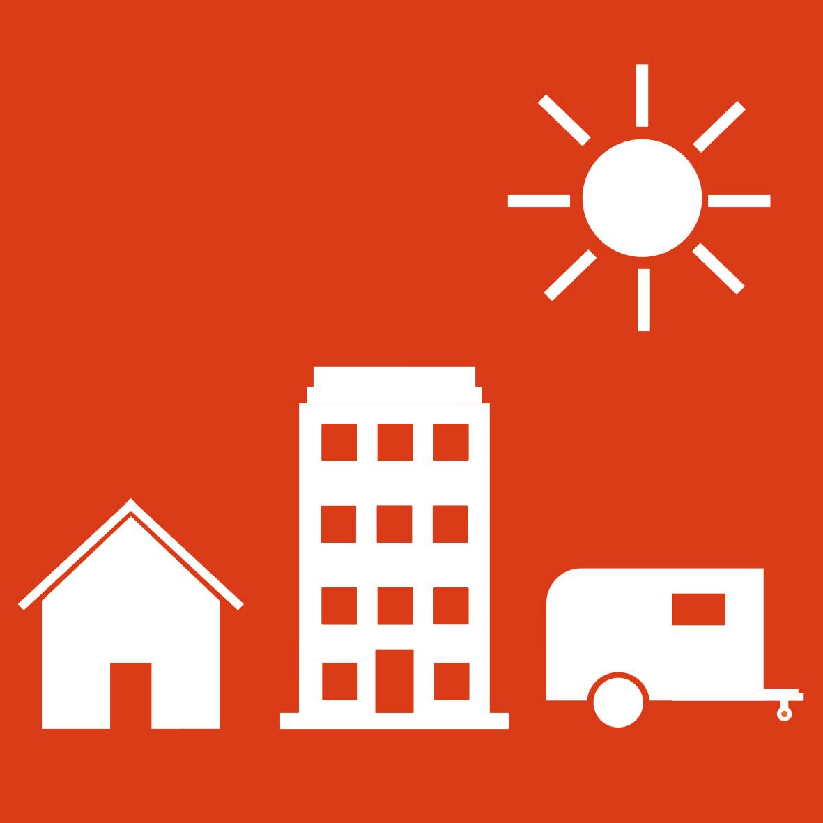 house building car sun